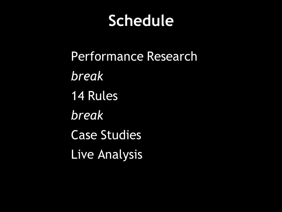 Schedule Performance Research break 14 Rules break Case Studies Live Analysis