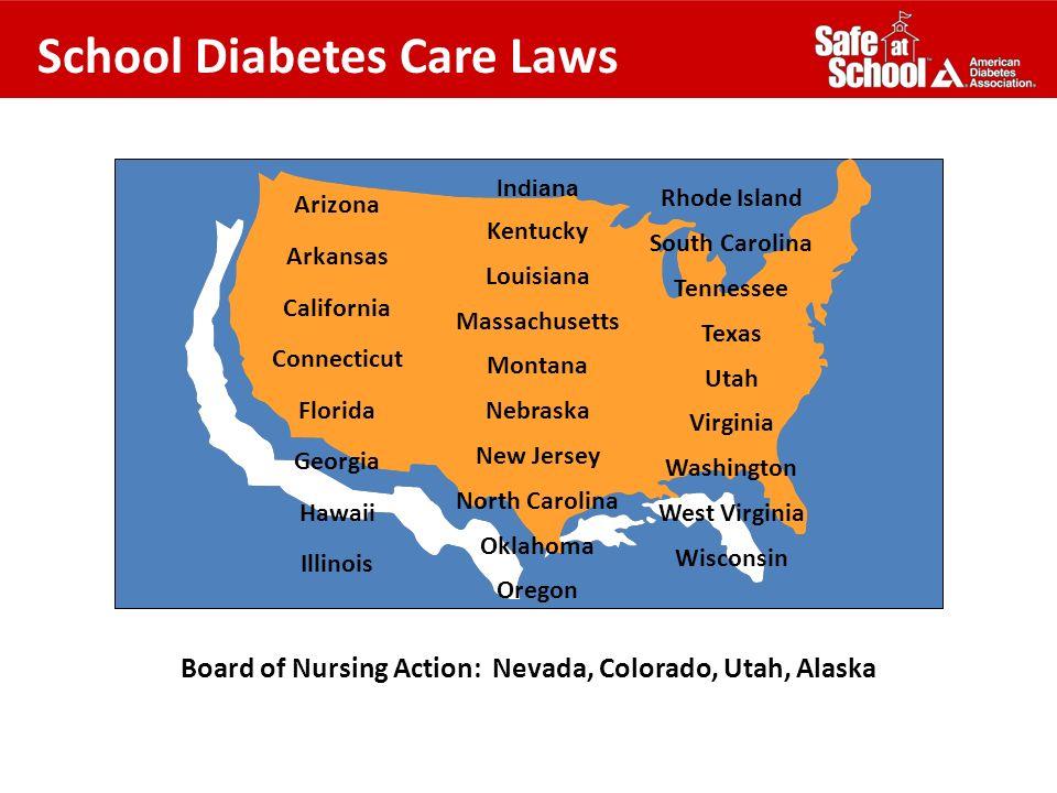 School Diabetes Care Laws Board of Nursing Action: Nevada, Colorado, Utah, Alaska Arizona Arkansas California Connecticut Florida Georgia Hawaii Illin