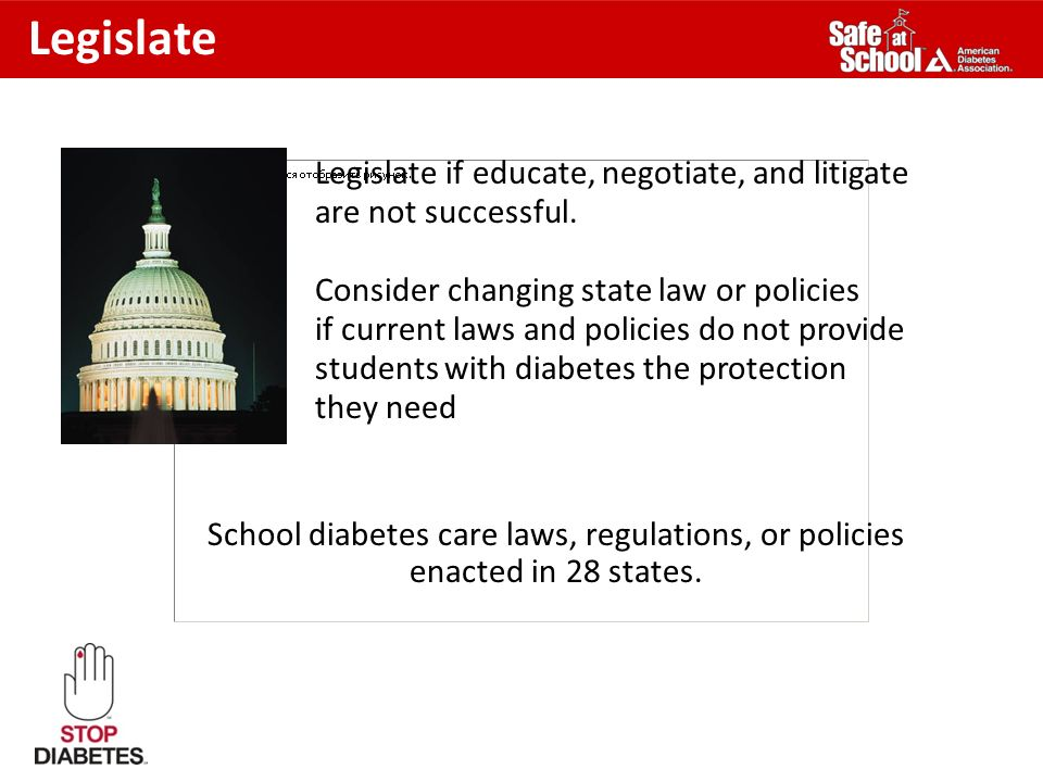 School diabetes care laws, regulations, or policies enacted in 28 states. Legislate Legislate if educate, negotiate, and litigate are not successful.