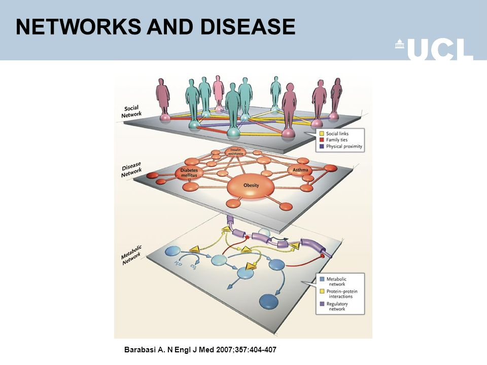 Barabasi A. N Engl J Med 2007;357:404-407 Complex Networks of Direct Relevance to Network Medicine NETWORKS AND DISEASE