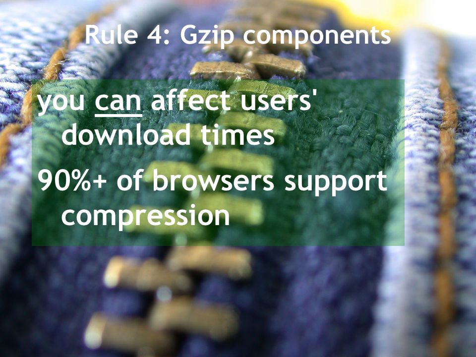 Rule 4: Gzip components you can affect users download times 90%+ of browsers support compression