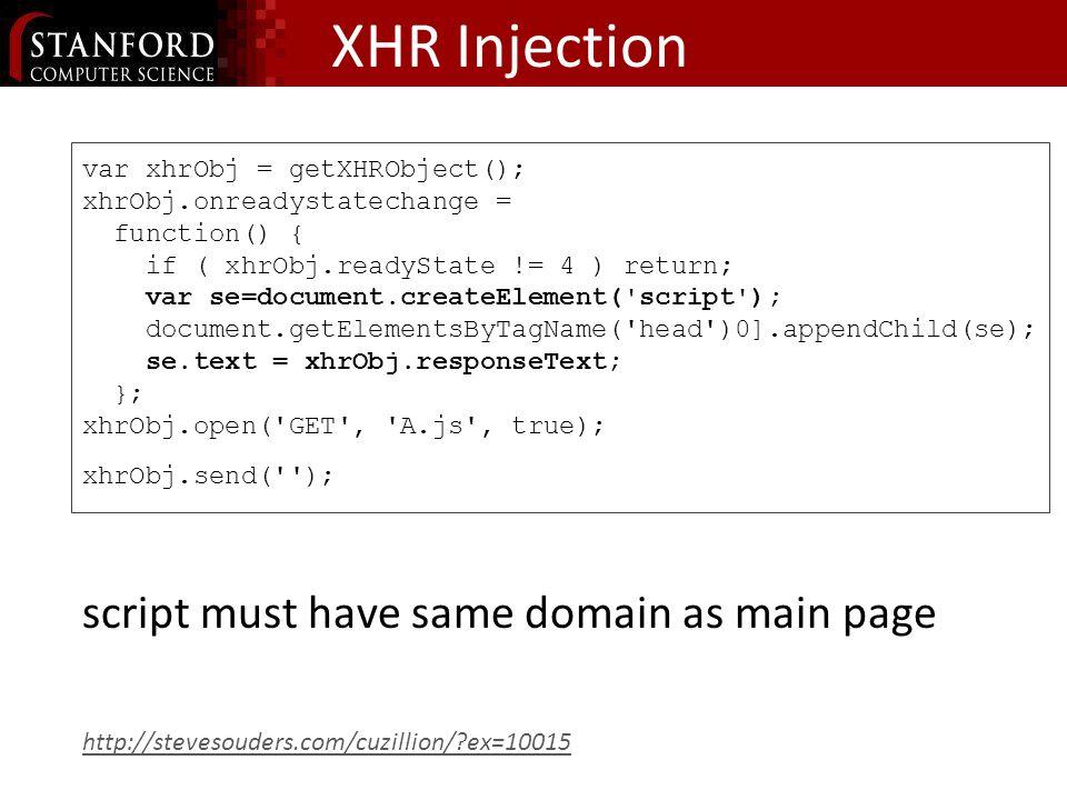 XHR Injection var xhrObj = getXHRObject(); xhrObj.onreadystatechange = function() { if ( xhrObj.readyState != 4 ) return; var se=document.createElement( script ); document.getElementsByTagName( head )0].appendChild(se); se.text = xhrObj.responseText; }; xhrObj.open( GET , A.js , true); xhrObj.send( ); script must have same domain as main page http://stevesouders.com/cuzillion/ ex=10015