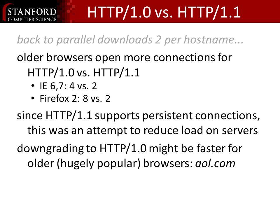 HTTP/1.0 vs. HTTP/1.1 back to parallel downloads 2 per hostname...