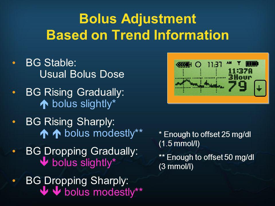 Bolus Adjustment Based on Trend Information BG Stable: Usual Bolus Dose BG Rising Gradually: bolus slightly* BG Rising Sharply: bolus modestly** BG Dr