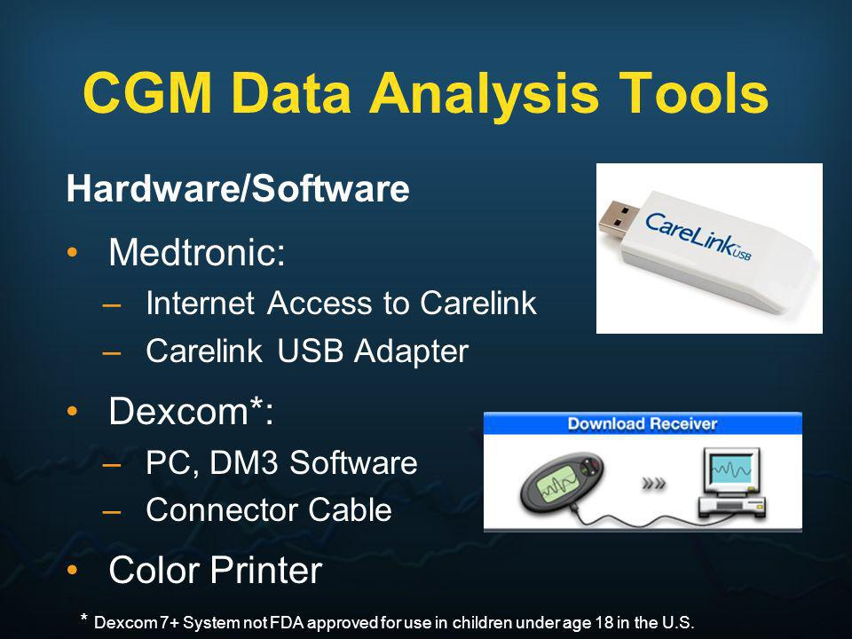 CGM Data Analysis Tools Hardware/Software Medtronic: –Internet Access to Carelink –Carelink USB Adapter Dexcom*: –PC, DM3 Software –Connector Cable Co