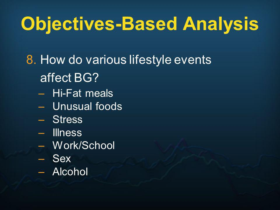 8.How do various lifestyle events affect BG? –Hi-Fat meals –Unusual foods –Stress –Illness –Work/School –Sex –Alcohol Objectives-Based Analysis