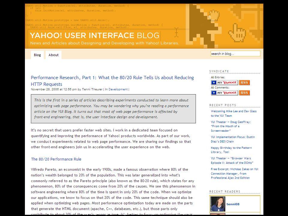 http://yuiblog.com/blog/2006/11/28/performance-research-part-1/