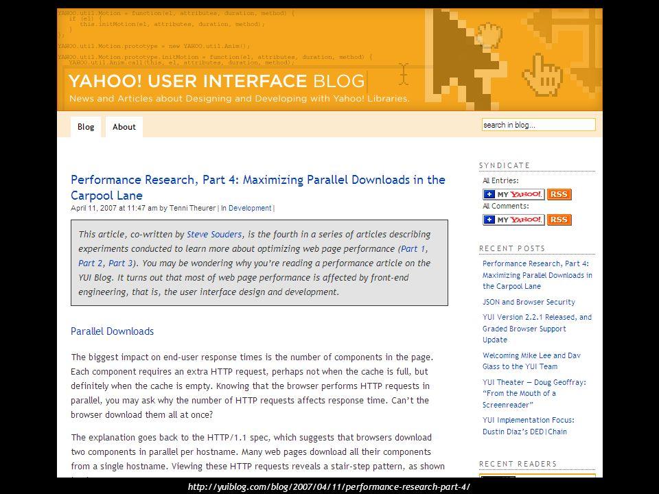 http://yuiblog.com/blog/2007/04/11/performance-research-part-4/