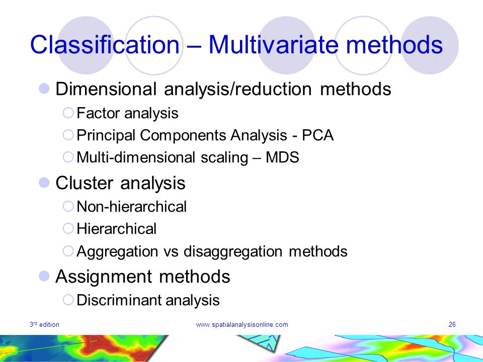 3 rd editionwww.spatialanalysisonline.com26 Classification – Multivariate methods Dimensional analysis/reduction methods Factor analysis Principal Components Analysis - PCA Multi-dimensional scaling – MDS Cluster analysis Non-hierarchical Hierarchical Aggregation vs disaggregation methods Assignment methods Discriminant analysis