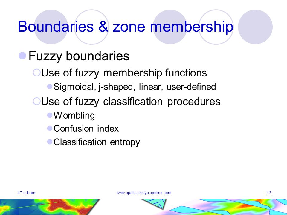 3 rd editionwww.spatialanalysisonline.com32 Boundaries & zone membership Fuzzy boundaries Use of fuzzy membership functions Sigmoidal, j-shaped, linear, user-defined Use of fuzzy classification procedures Wombling Confusion index Classification entropy