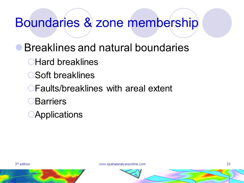 3 rd editionwww.spatialanalysisonline.com33 Boundaries & zone membership Breaklines and natural boundaries Hard breaklines Soft breaklines Faults/breaklines with areal extent Barriers Applications