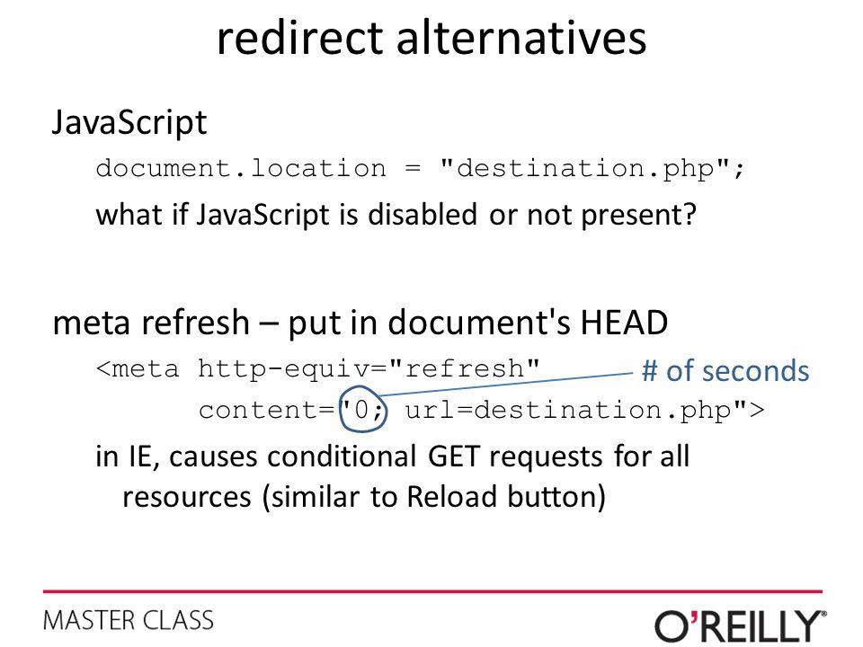 redirect alternatives JavaScript document.location =