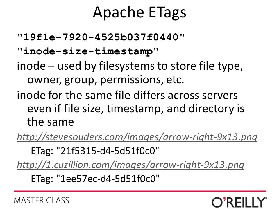 Apache ETags 19f1e-7920-4525b037f0440 inode-size-timestamp inode – used by filesystems to store file type, owner, group, permissions, etc.