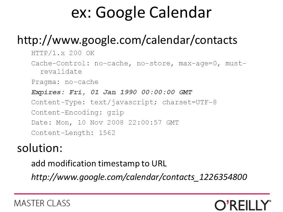 ex: Google Calendar http://www.google.com/calendar/contacts HTTP/1.x 200 OK Cache-Control: no-cache, no-store, max-age=0, must- revalidate Pragma: no-