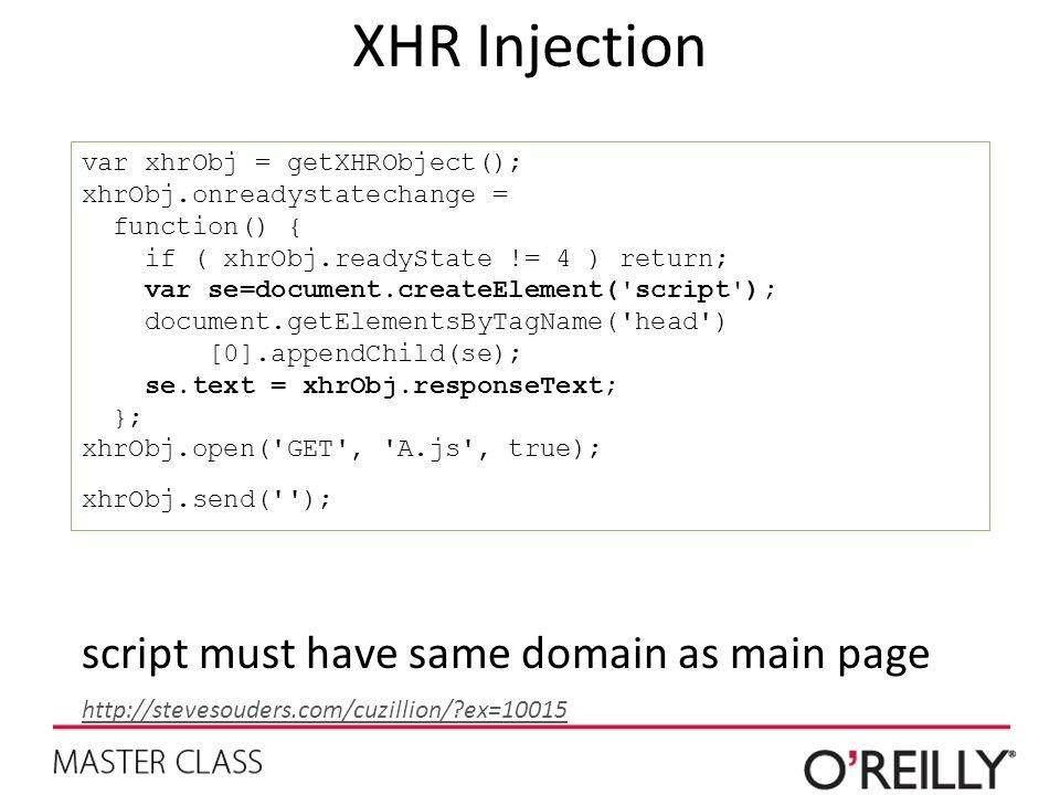 XHR Injection var xhrObj = getXHRObject(); xhrObj.onreadystatechange = function() { if ( xhrObj.readyState != 4 ) return; var se=document.createElement( script ); document.getElementsByTagName( head ) [0].appendChild(se); se.text = xhrObj.responseText; }; xhrObj.open( GET , A.js , true); xhrObj.send( ); script must have same domain as main page http://stevesouders.com/cuzillion/?ex=10015