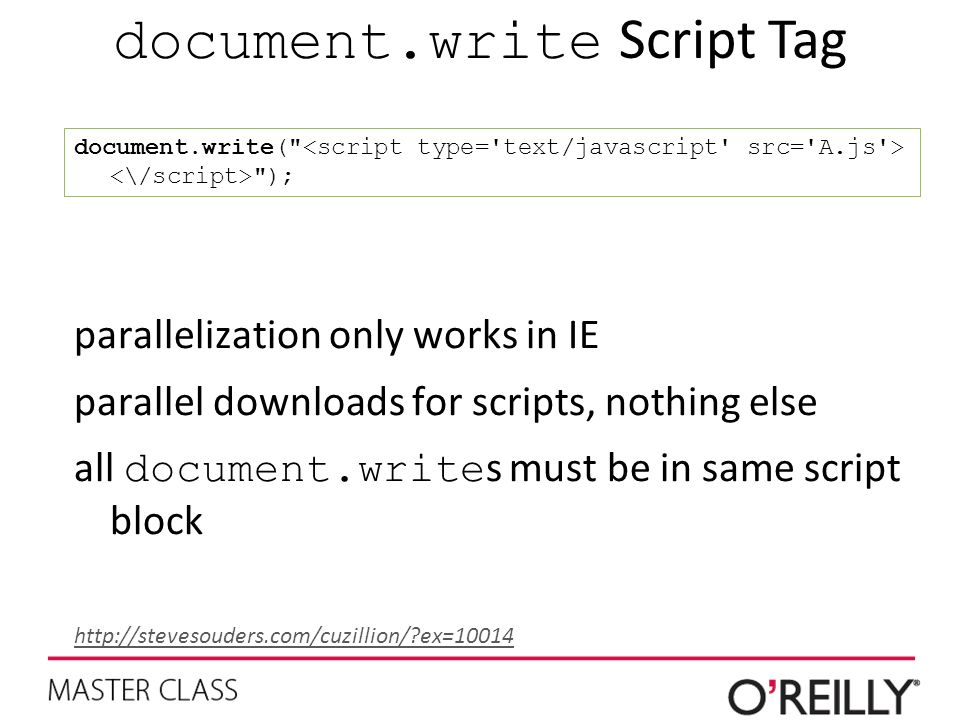 document.write Script Tag document.write( ); parallelization only works in IE parallel downloads for scripts, nothing else all document.write s must be in same script block http://stevesouders.com/cuzillion/?ex=10014