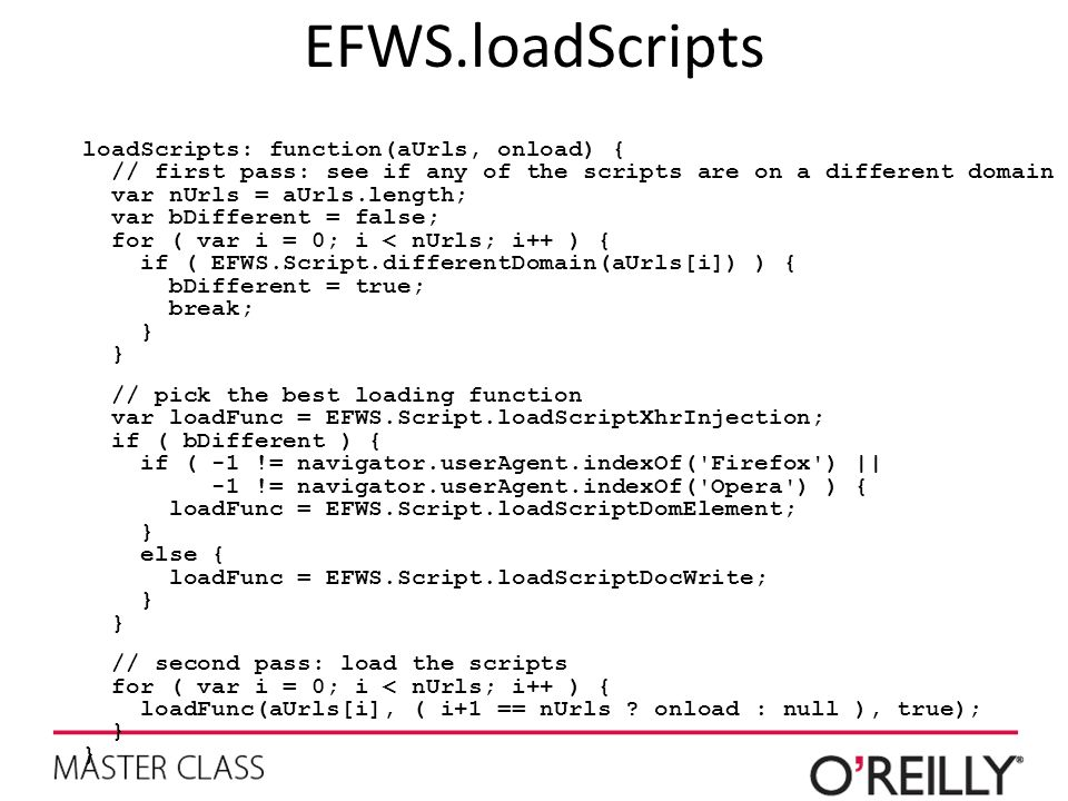 EFWS.loadScripts loadScripts: function(aUrls, onload) { // first pass: see if any of the scripts are on a different domain var nUrls = aUrls.length; v