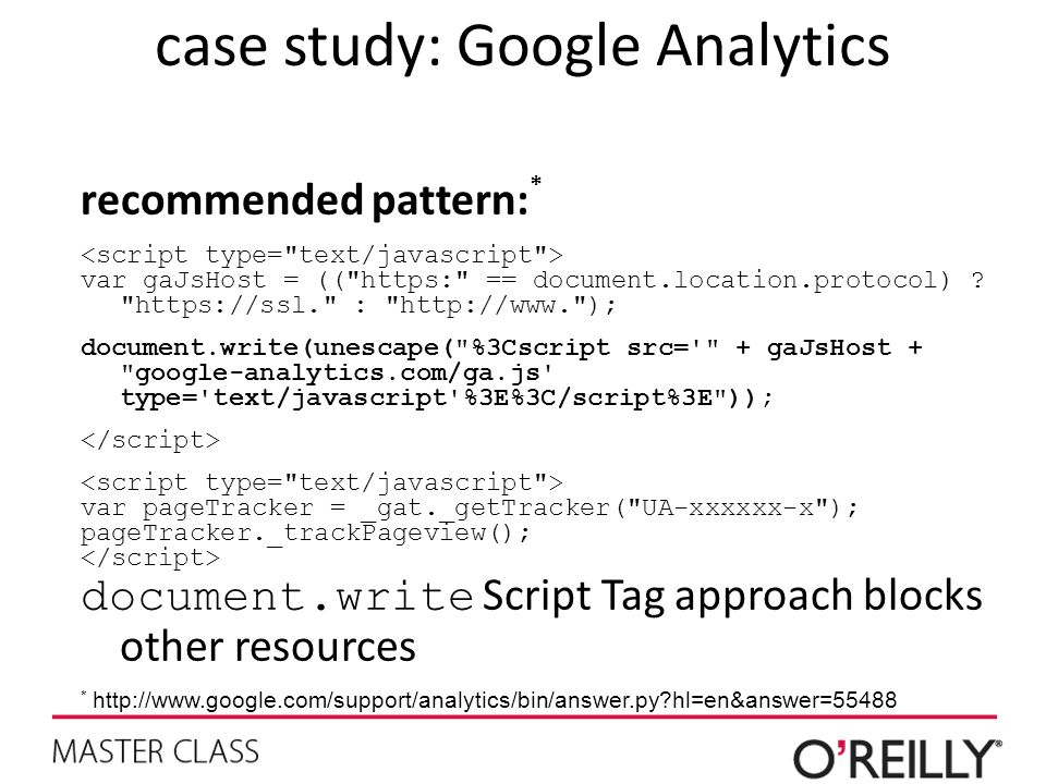 case study: Google Analytics recommended pattern: * var gaJsHost = (( https: == document.location.protocol) .