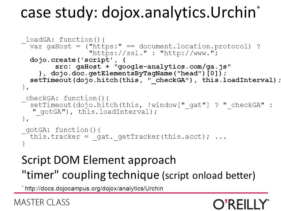 case study: dojox.analytics.Urchin * _loadGA: function(){ var gaHost = ( https: == document.location.protocol) .