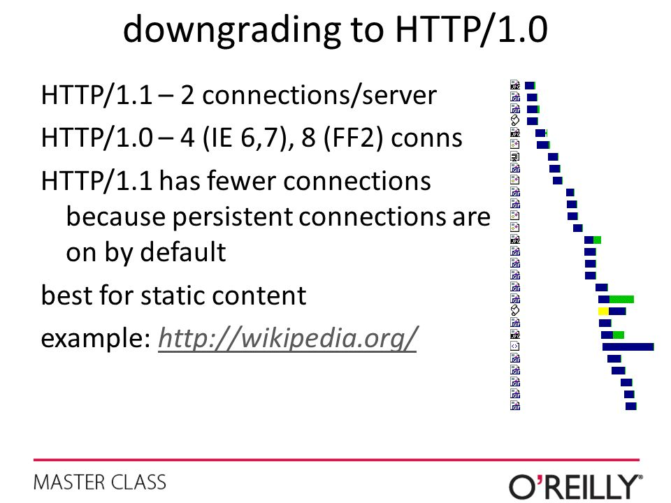 downgrading to HTTP/1.0 HTTP/1.1 – 2 connections/server HTTP/1.0 – 4 (IE 6,7), 8 (FF2) conns HTTP/1.1 has fewer connections because persistent connect