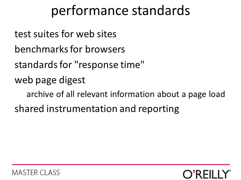 performance standards test suites for web sites benchmarks for browsers standards for