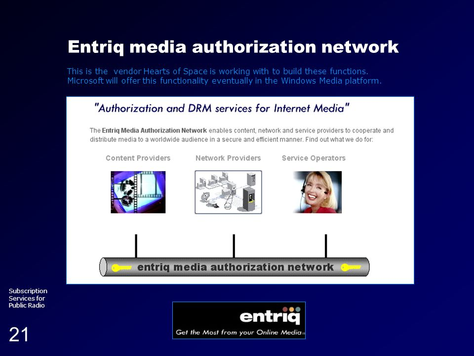 Running head (section title) Subscription Services for Public Radio 21 Entriq media authorization network This is the vendor Hearts of Space is workin