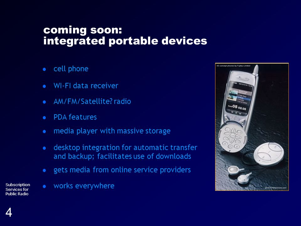 Running head (section title) Subscription Services for Public Radio 4 coming soon: integrated portable devices cell phone WI-FI data receiver AM/FM/Sa