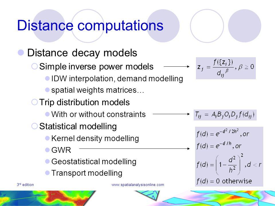 3 rd editionwww.spatialanalysisonline.com16 Distance computations Distance decay models Simple inverse power models IDW interpolation, demand modellin