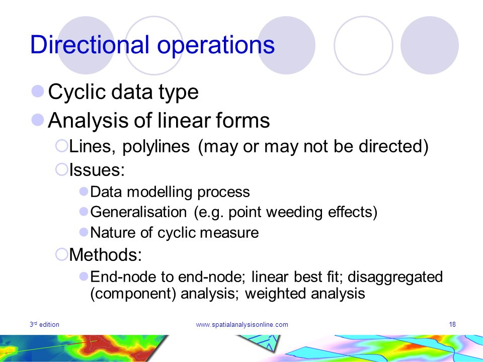 3 rd editionwww.spatialanalysisonline.com18 Directional operations Cyclic data type Analysis of linear forms Lines, polylines (may or may not be directed) Issues: Data modelling process Generalisation (e.g.