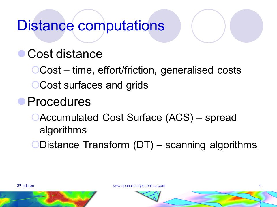 3 rd editionwww.spatialanalysisonline.com6 Distance computations Cost distance Cost – time, effort/friction, generalised costs Cost surfaces and grids