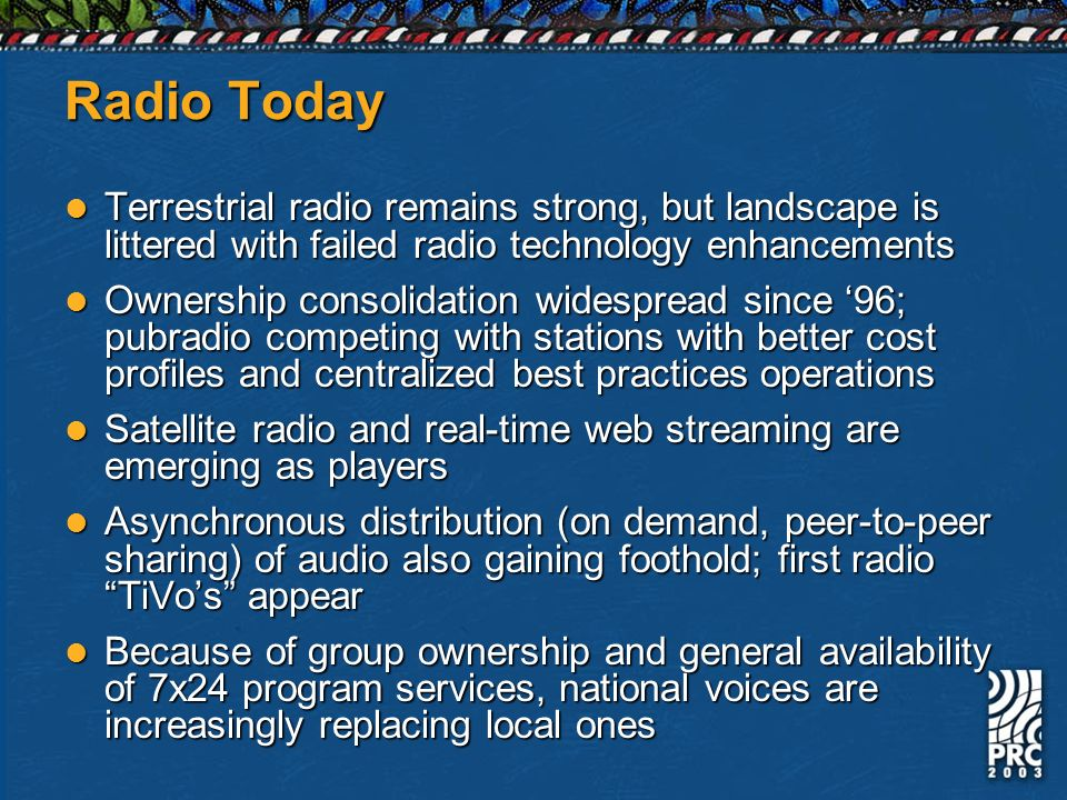 Radio Today Terrestrial radio remains strong, but landscape is littered with failed radio technology enhancements Terrestrial radio remains strong, bu