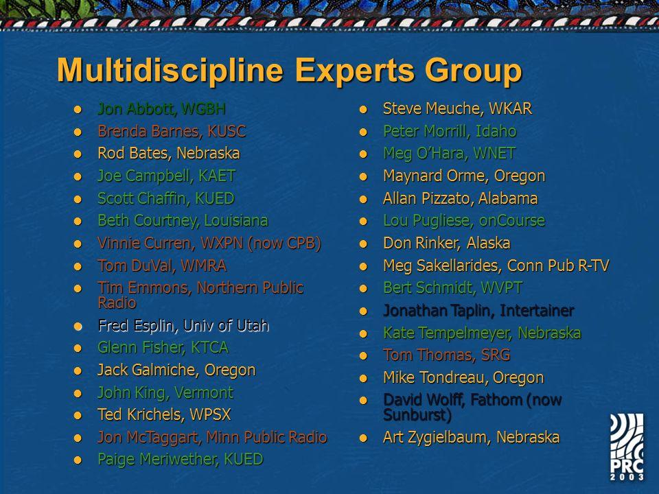 Multidiscipline Experts Group Jon Abbott, WGBH Jon Abbott, WGBH Brenda Barnes, KUSC Brenda Barnes, KUSC Rod Bates, Nebraska Rod Bates, Nebraska Joe Ca