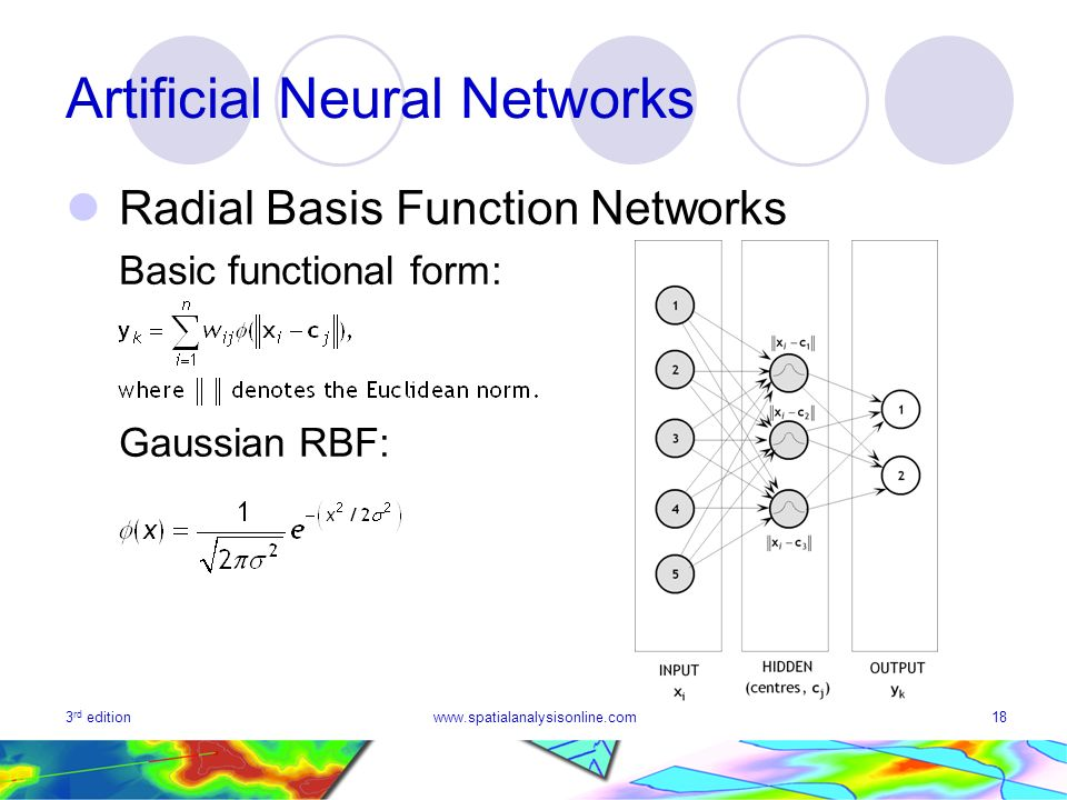 3 rd editionwww.spatialanalysisonline.com18 Artificial Neural Networks Radial Basis Function Networks Basic functional form: Gaussian RBF: