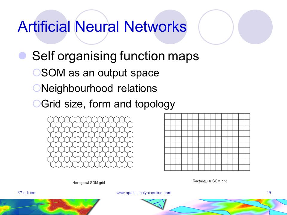 3 rd editionwww.spatialanalysisonline.com19 Artificial Neural Networks Self organising function maps SOM as an output space Neighbourhood relations Grid size, form and topology