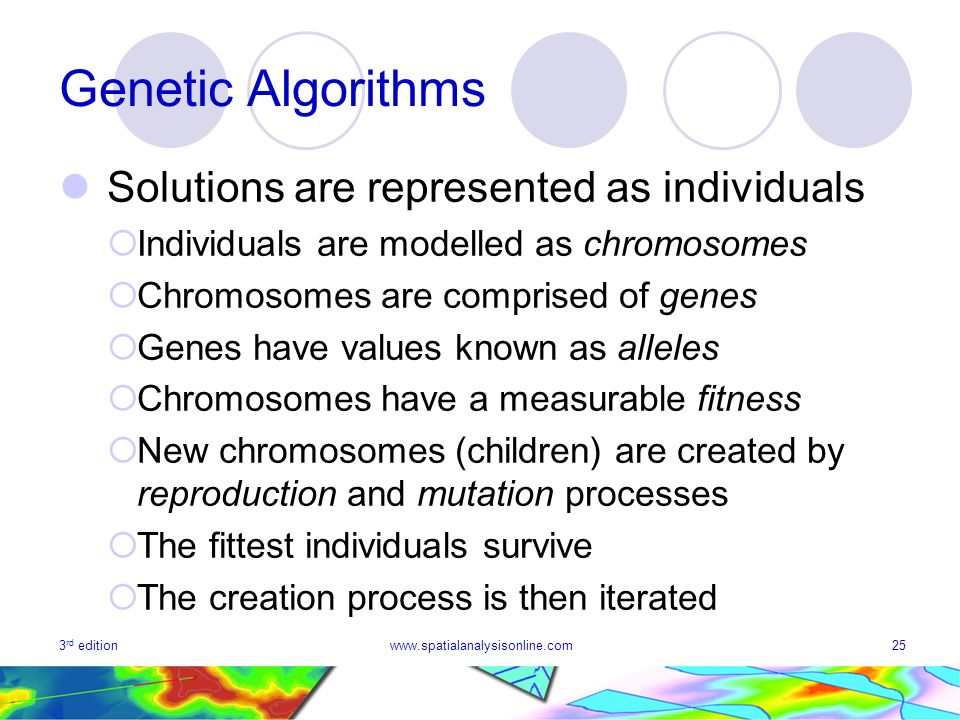 3 rd editionwww.spatialanalysisonline.com25 Genetic Algorithms Solutions are represented as individuals Individuals are modelled as chromosomes Chromo