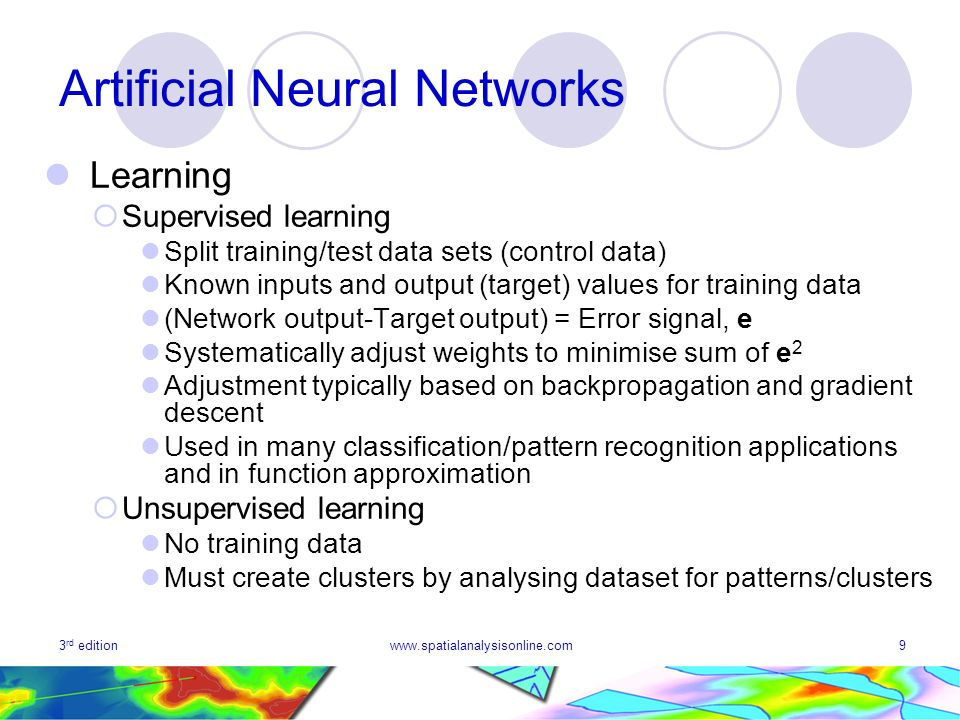 3 rd editionwww.spatialanalysisonline.com9 Artificial Neural Networks Learning Supervised learning Split training/test data sets (control data) Known