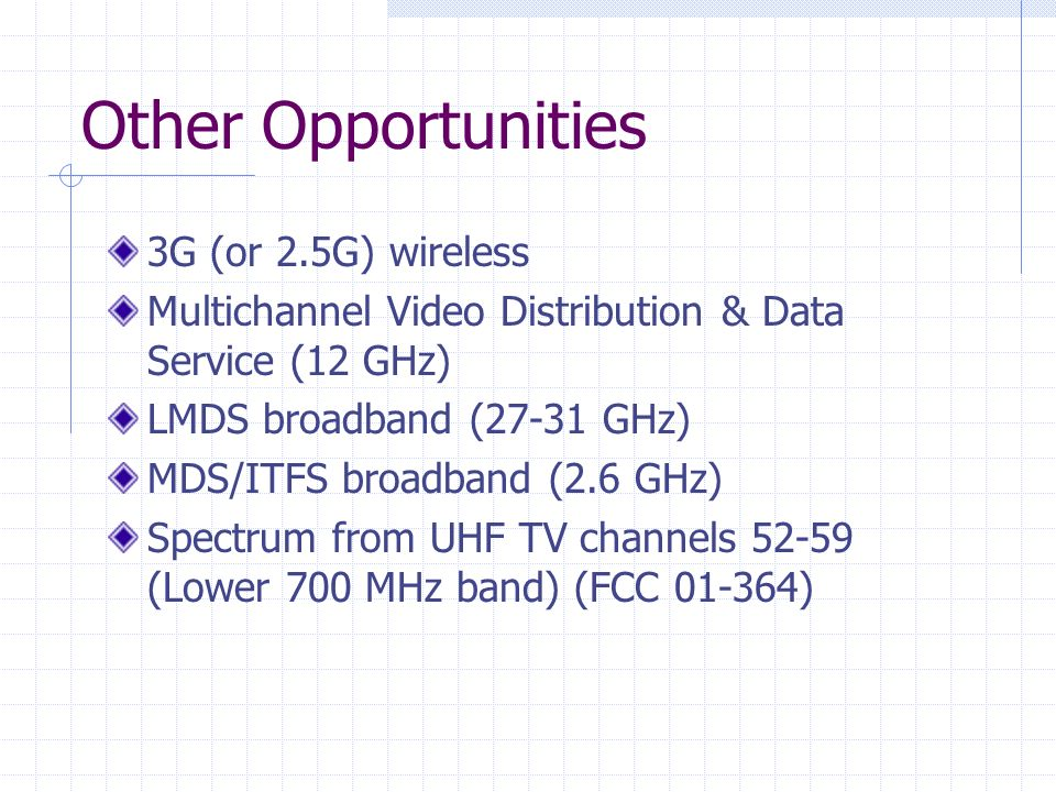 Other Opportunities 3G (or 2.5G) wireless Multichannel Video Distribution & Data Service (12 GHz) LMDS broadband (27-31 GHz) MDS/ITFS broadband (2.6 GHz) Spectrum from UHF TV channels 52-59 (Lower 700 MHz band) (FCC 01-364)