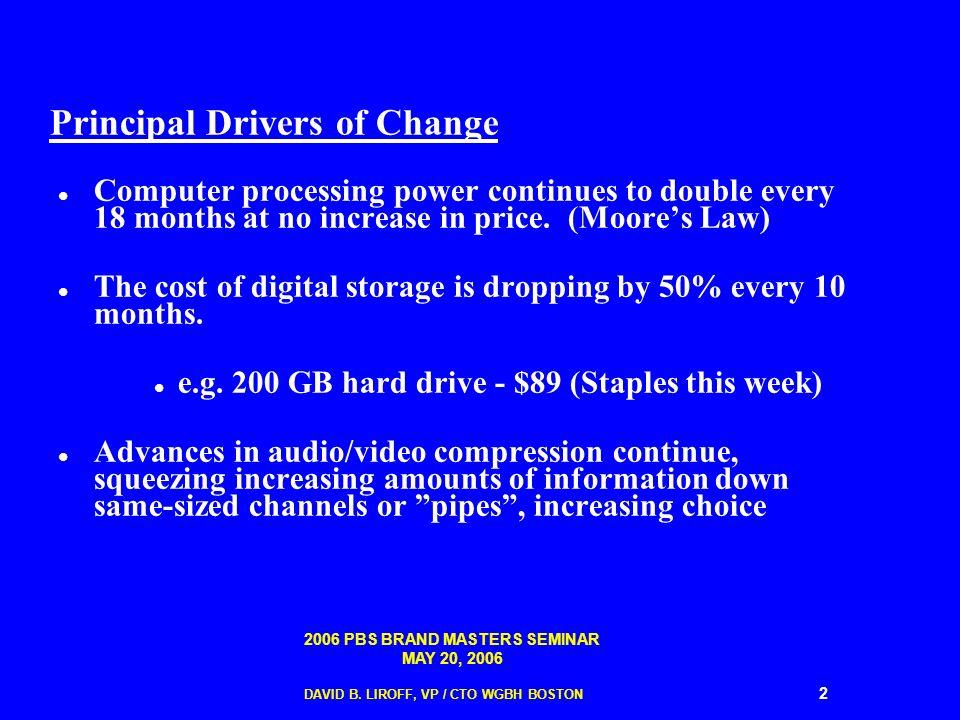 2006 PBS BRAND MASTERS SEMINAR MAY 20, 2006 DAVID B. LIROFF, VP / CTO WGBH BOSTON 2 Principal Drivers of Change Computer processing power continues to