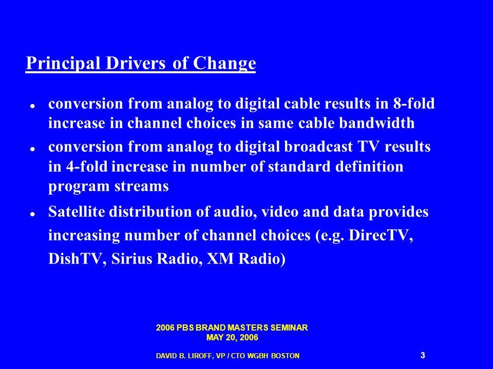 2006 PBS BRAND MASTERS SEMINAR MAY 20, 2006 DAVID B. LIROFF, VP / CTO WGBH BOSTON 3 Principal Drivers of Change conversion from analog to digital cabl