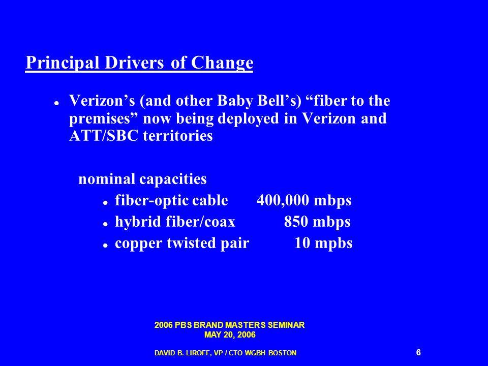 2006 PBS BRAND MASTERS SEMINAR MAY 20, 2006 DAVID B. LIROFF, VP / CTO WGBH BOSTON 6 Principal Drivers of Change Verizons (and other Baby Bells) fiber