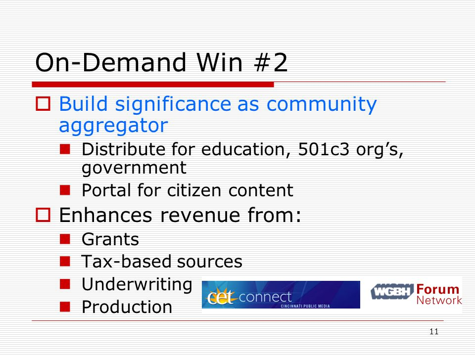 11 On-Demand Win #2 Build significance as community aggregator Distribute for education, 501c3 orgs, government Portal for citizen content Enhances re