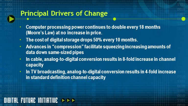 Principal Drivers of Change In radio broadcasting, analog-to-digital conversion results in at least two- fold increase in program service capacity per station Satellite distribution of audio, video and data to end-users increases choice.