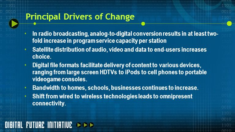 Principal Drivers of Change In radio broadcasting, analog-to-digital conversion results in at least two- fold increase in program service capacity per