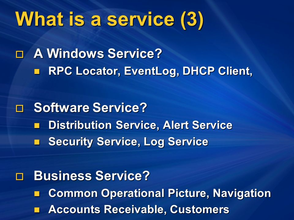 What is a service (3) A Windows Service. A Windows Service.