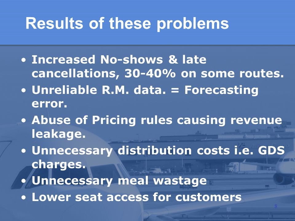 Results of these problems Increased No-shows & late cancellations, 30-40% on some routes. Unreliable R.M. data. = Forecasting error. Abuse of Pricing