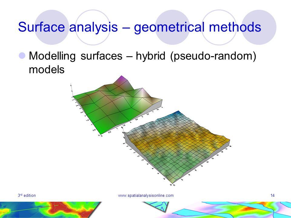 3 rd editionwww.spatialanalysisonline.com14 Surface analysis – geometrical methods Modelling surfaces – hybrid (pseudo-random) models