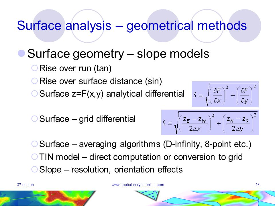3 rd editionwww.spatialanalysisonline.com16 Surface analysis – geometrical methods Surface geometry – slope models Rise over run (tan) Rise over surface distance (sin) Surface z=F(x,y) analytical differential Surface – grid differential Surface – averaging algorithms (D-infinity, 8-point etc.) TIN model – direct computation or conversion to grid Slope – resolution, orientation effects