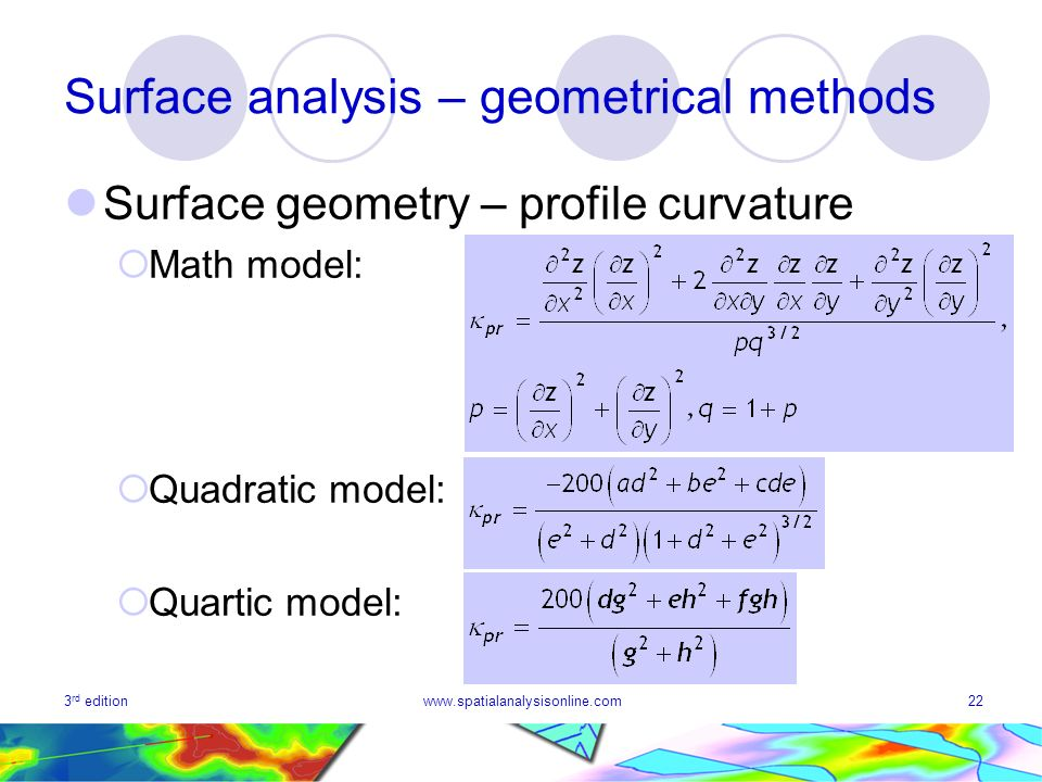 3 rd editionwww.spatialanalysisonline.com22 Surface analysis – geometrical methods Surface geometry – profile curvature Math model: Quadratic model: Quartic model: