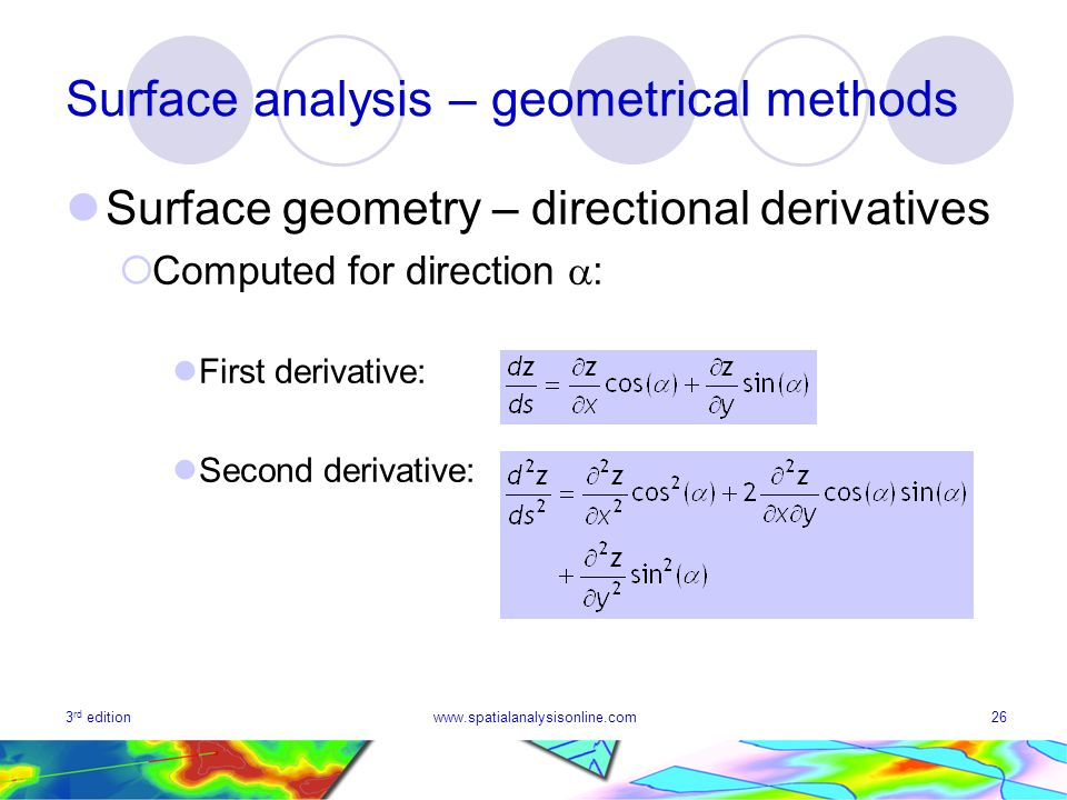 3 rd editionwww.spatialanalysisonline.com26 Surface analysis – geometrical methods Surface geometry – directional derivatives Computed for direction : First derivative: Second derivative: