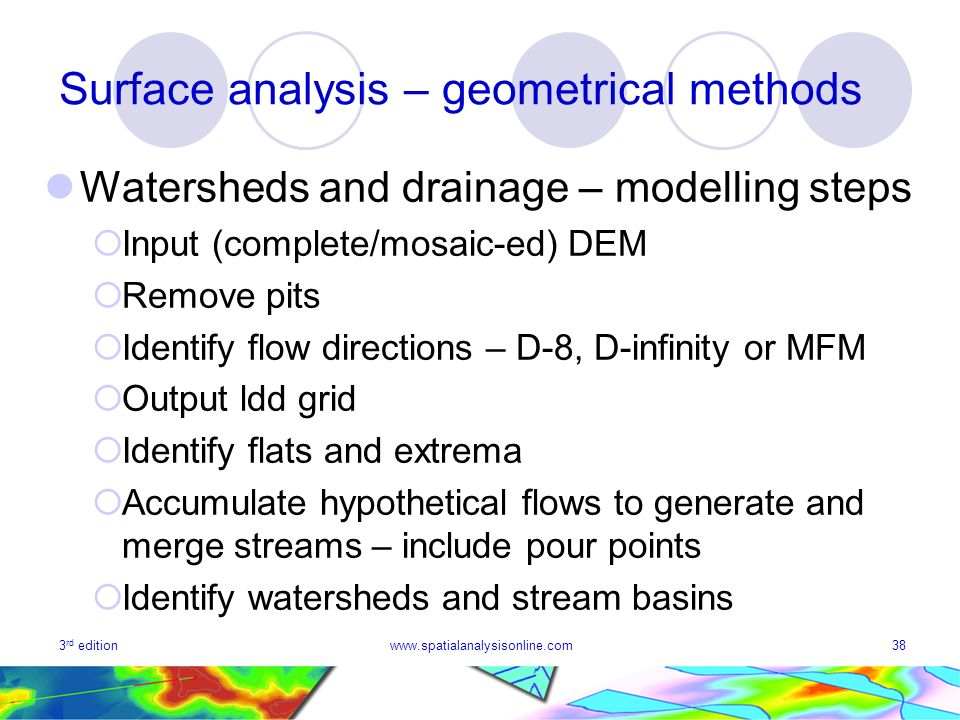 3 rd editionwww.spatialanalysisonline.com38 Surface analysis – geometrical methods Watersheds and drainage – modelling steps Input (complete/mosaic-ed) DEM Remove pits Identify flow directions – D-8, D-infinity or MFM Output ldd grid Identify flats and extrema Accumulate hypothetical flows to generate and merge streams – include pour points Identify watersheds and stream basins
